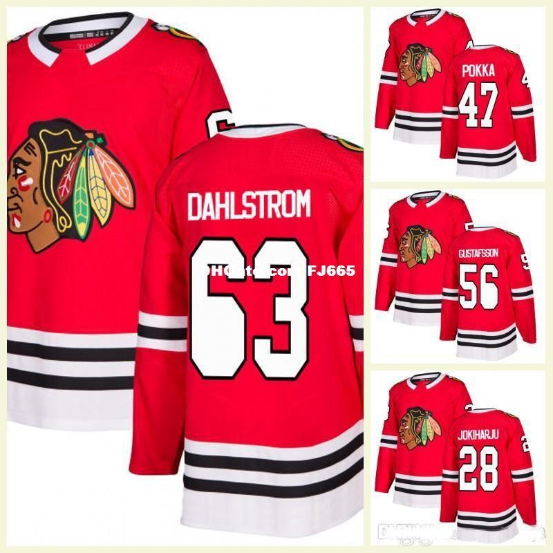 cheaper a092c 22973 2018 New Style Mens Erik Gustafsson Jersey 28 Henri Jokiharju 47 Ville  Pokka 63 Carl Dahlstrom Chicago Blackhawks RED Hockey Jerseys