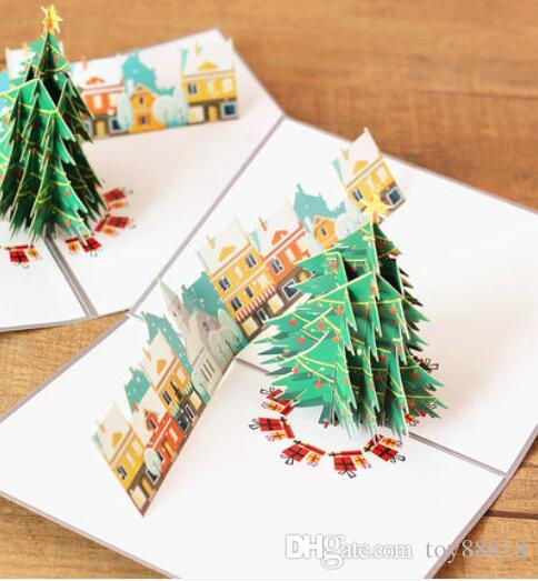 New Christmas Eve Greeting Card Paper Creative Send Friends Birthday Gift Message Stereo Thanksgiving Holders Sending