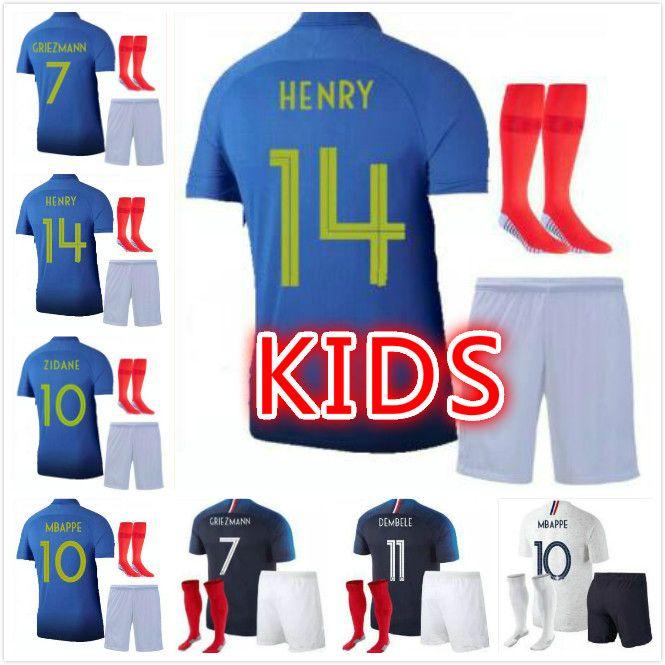 016e5a224 2019 1919 2019 FFF France Special Edition Centenary HENRY 2 Star Soccer  Jersey Mbappe GIROUD GRIEZMANN Kante 18 19 Franc ZIDANE Jersey Kids Kits  From ...