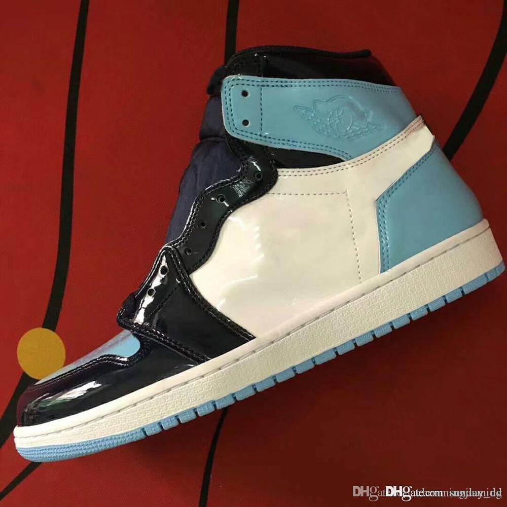 b8c6a697f9a 2019 2019 High 1 OG Retro WMNS ASG UNC Patent Basketball Shoes Mans  Obsidian Blue Chill White 1S Sports Boots Retro Sneakers CD0461 401 US 5.5  12 From ...