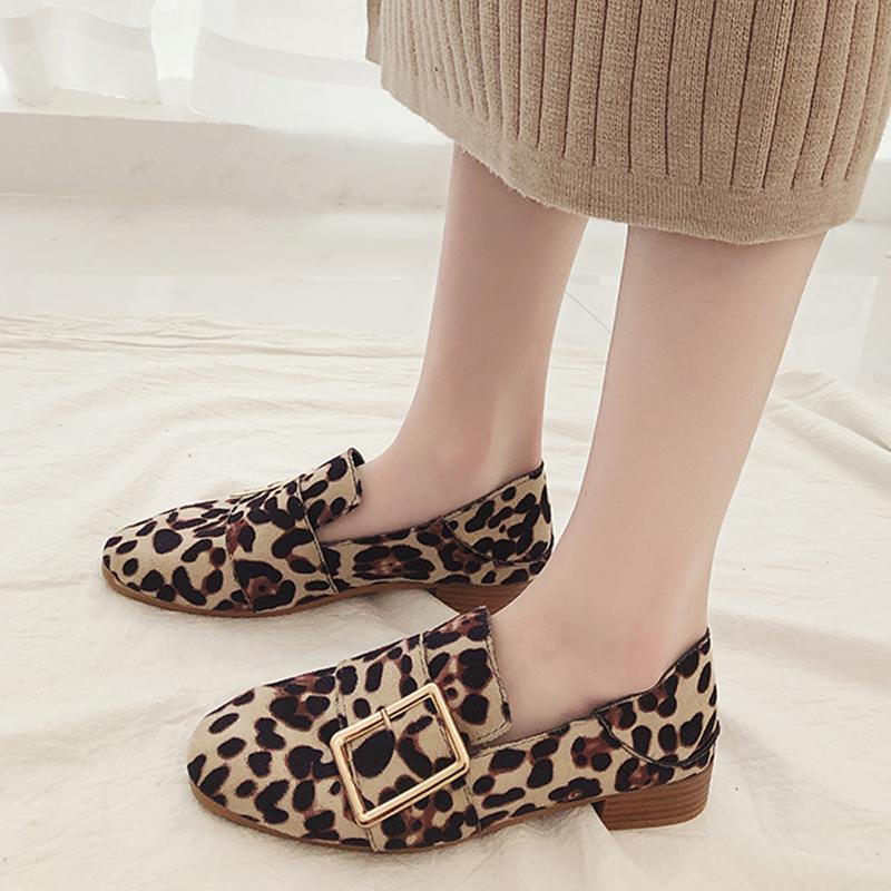 2019 Spring Women Flats Shoes Woman Leopard Shoes Female Golden Leather Comfortable Slip on Shoes Dames Schoenen Casual Footwear