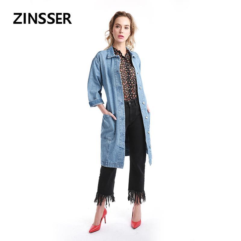 f6e599027522 2019 Women Denim Fancy Jacket Regular Casual Long Windbreaker Long Sleeve  100% Cotton Washed Blue Female Lady Coat From Griseldala