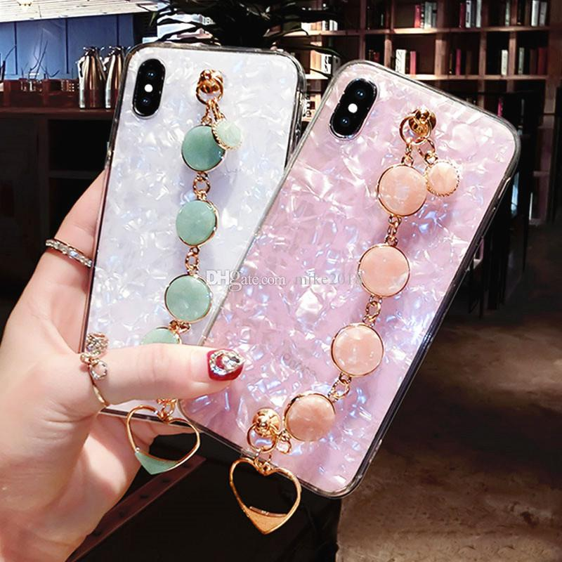 For iPhone 6 6s 7 8 X XS MAX XR For Samsung galaxy s8 s9 s10 plus note 8 9 Emerald chain heart Bracelet shell phone case