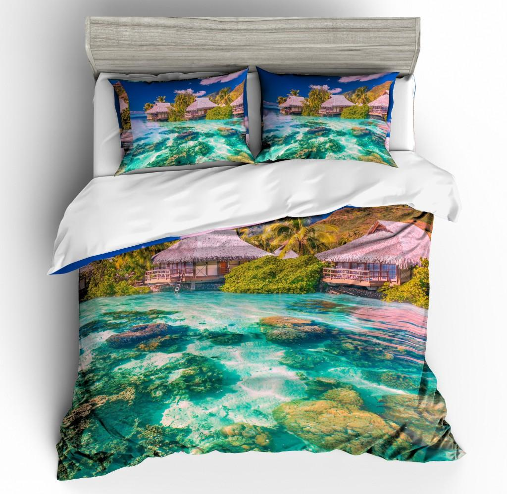 Beach Scenery Bedding Set Duvet Cover Pillowcases 2019 Spring QH43 Comforter Covers Single Double Queen King Size 3D Printed