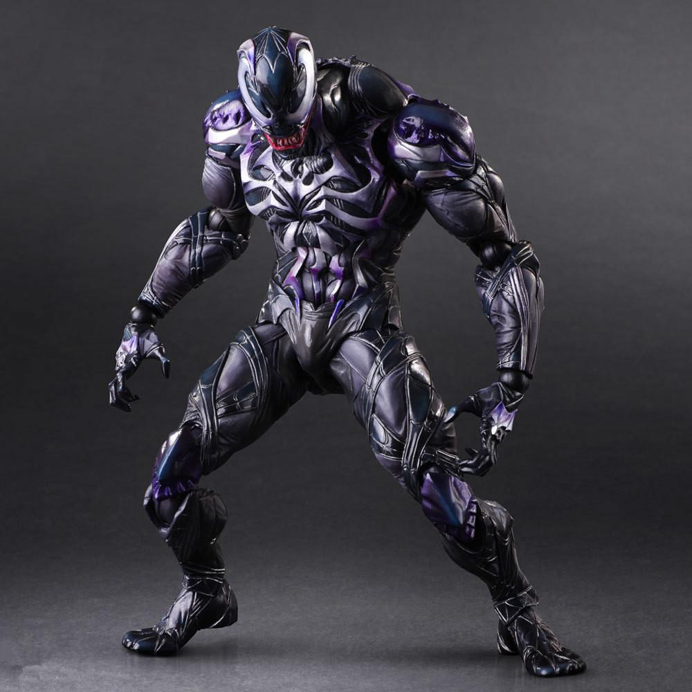 Venom Play Arts Kai Action Figure Spiderman Venom Collectible Model Toy 260mm PVC Anime Avenger Playarts Kai