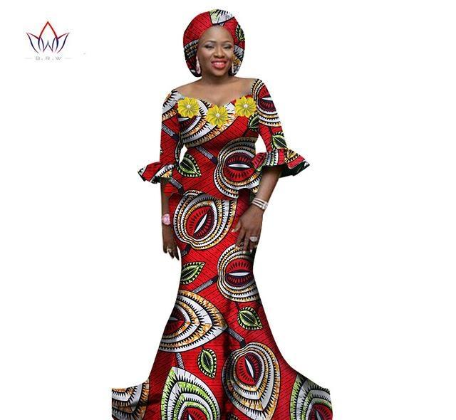 Women African Clothing Women Dress Set 2 Piece Tops and Long African Skirts Maxi Dress Club Dress Dashiki Print Dresses WY117852