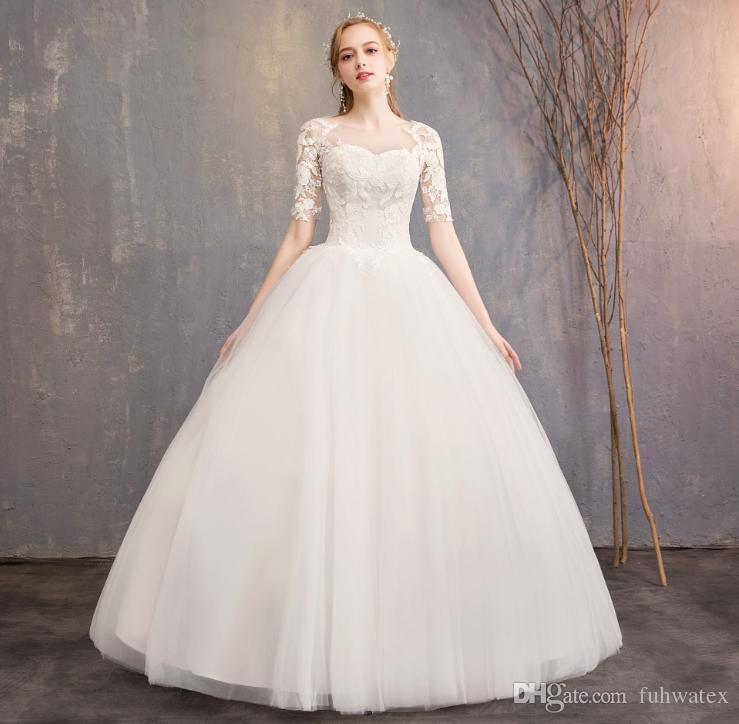 free ship Vestido De Noiva Princess Bridal Gowns Plus Size Elegant Boat Neck Dubai White Ball Gown Lace Long Sleeves Wedding Dresses 2019