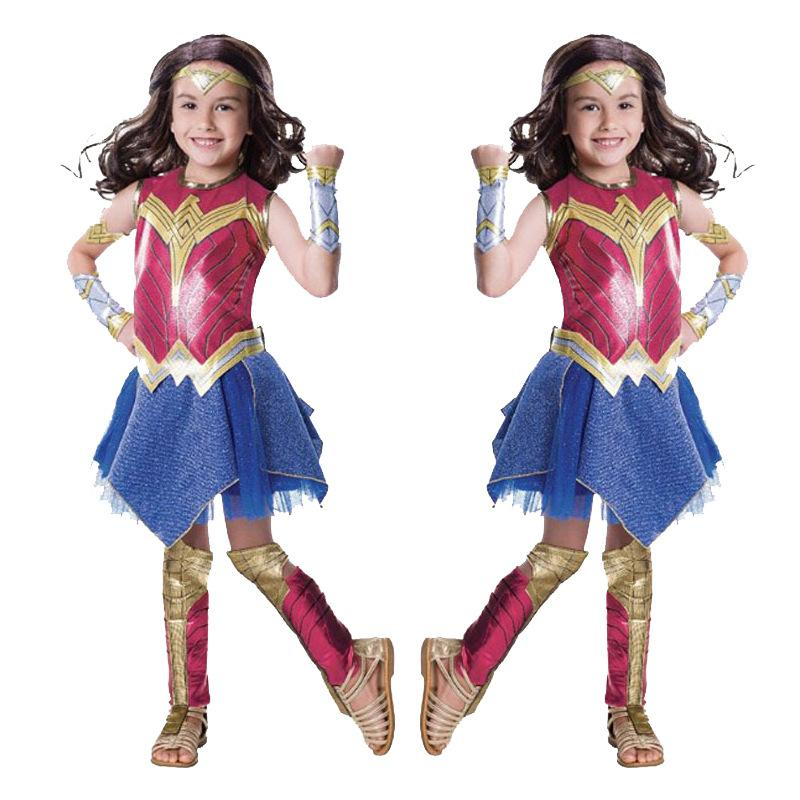 Free shipping Wonder Woman Cosplay Costume for kids superhero dress for Halloween role-playing Fantasia Party outfits Superman Costumes