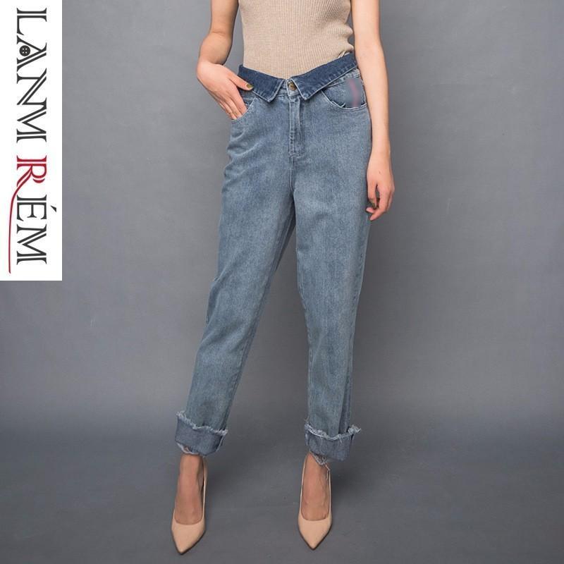 a7747600c Compre LANMREM 2018 Nueva Moda Doblado Casual Cintura Elástica Pantalones  De Mezclilla Pantalones Cortos De Diseño Pantalones Vaqueros Pantalones De  Mujer ...