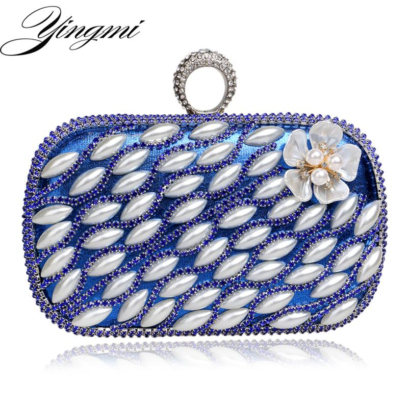 YINGMI Small Purse Clutches Evening Bags Finger Ring Diamonds Beaded Flower Design Evening Bag One Side Mixed Wedding Party Bag