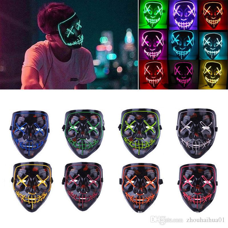 Halloween Mask EL Wire Horror Mask 10 Colors Slit Mouth Light Up Glowing LED Mask Halloween Cosplay Party Masks DHL Free Shipping