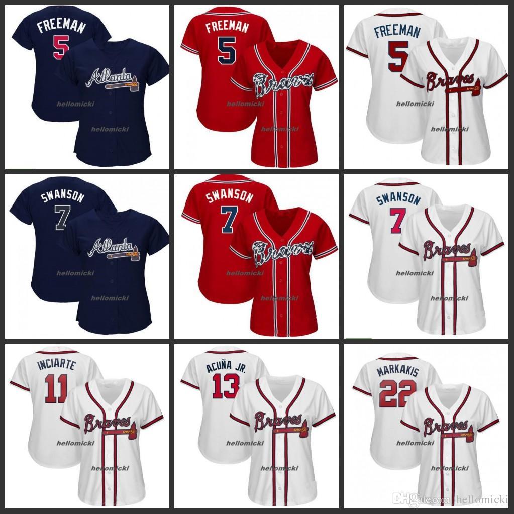 buy popular 7b044 9e6ff Women 2019 Braves Jersey 5 Freddie Freeman 7 Dansby Swanson Atlanta 13  Ronald Acuna Jr. Woman White Navy Red All Stitched Jerseys