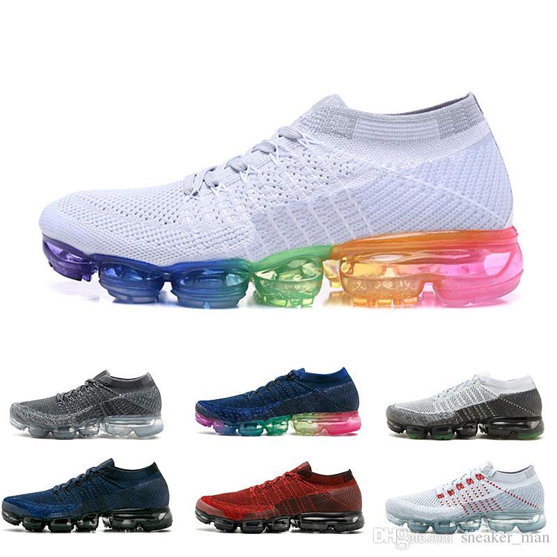 buy popular 966c4 fcf77 Acheter Nike Air Vapormax Flyknit 2018 1.0 Rainbow VM 1.0 Chaussures De  Running Pour Hommes Noir Blanc Bleu Rouge Femmes Baskets Baskets Unisexe  Chaussures ...