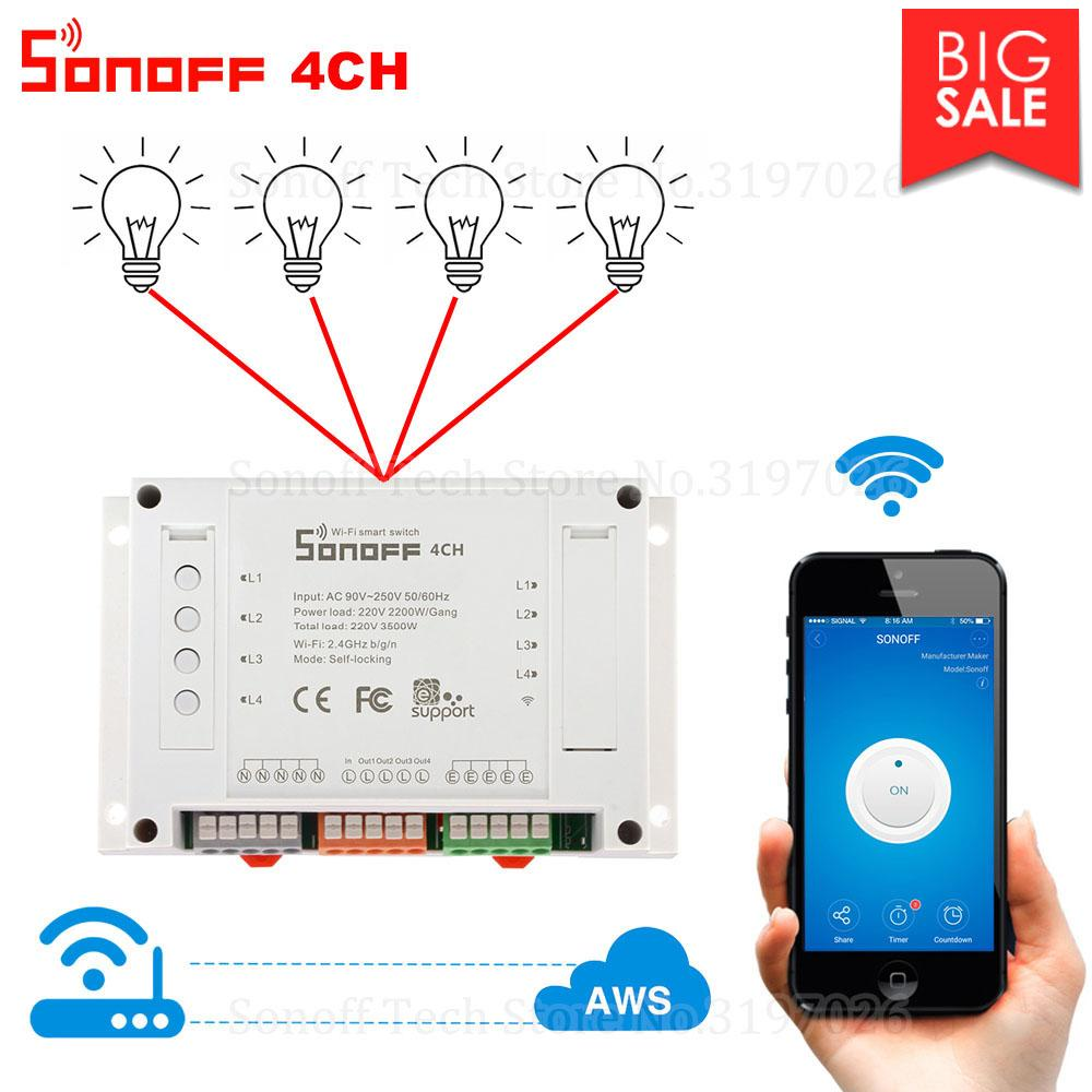 Itead Sonoff 4CH Wifi Smart Switch 4 Gang Wifi Light Switch Smart Home App  Remote Interrupter Relay funciona con Alexa Google Home