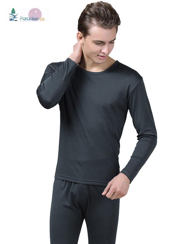 a03b6995b50787 Underwear Autumn Clothes Long Pants Men's Silk Cashmere Blend Long Johns Top  & Bottom Set Solid Size L XL XXL