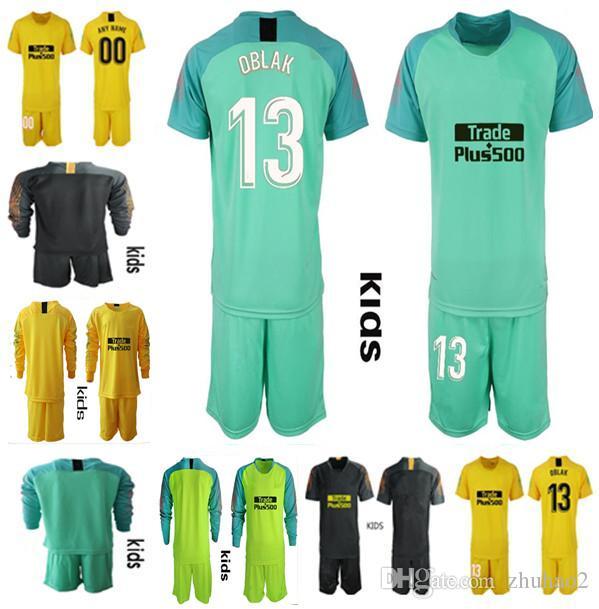 sale retailer b7d6b 27afd 2018 2019 Soccer goalkeeper jersey shirt KIDS #13 OBLAK GRIEZMANN KOKE  DIEGO COSTA jersey 18 19 camisetas de futbol Goalie Uniforms