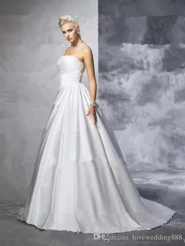 2019 Cheap Strapless A Line Wedding Dresses Long Sweep Ruched Satin Hot Sale Bridal Wedding Gowns Zipper Sexy Back