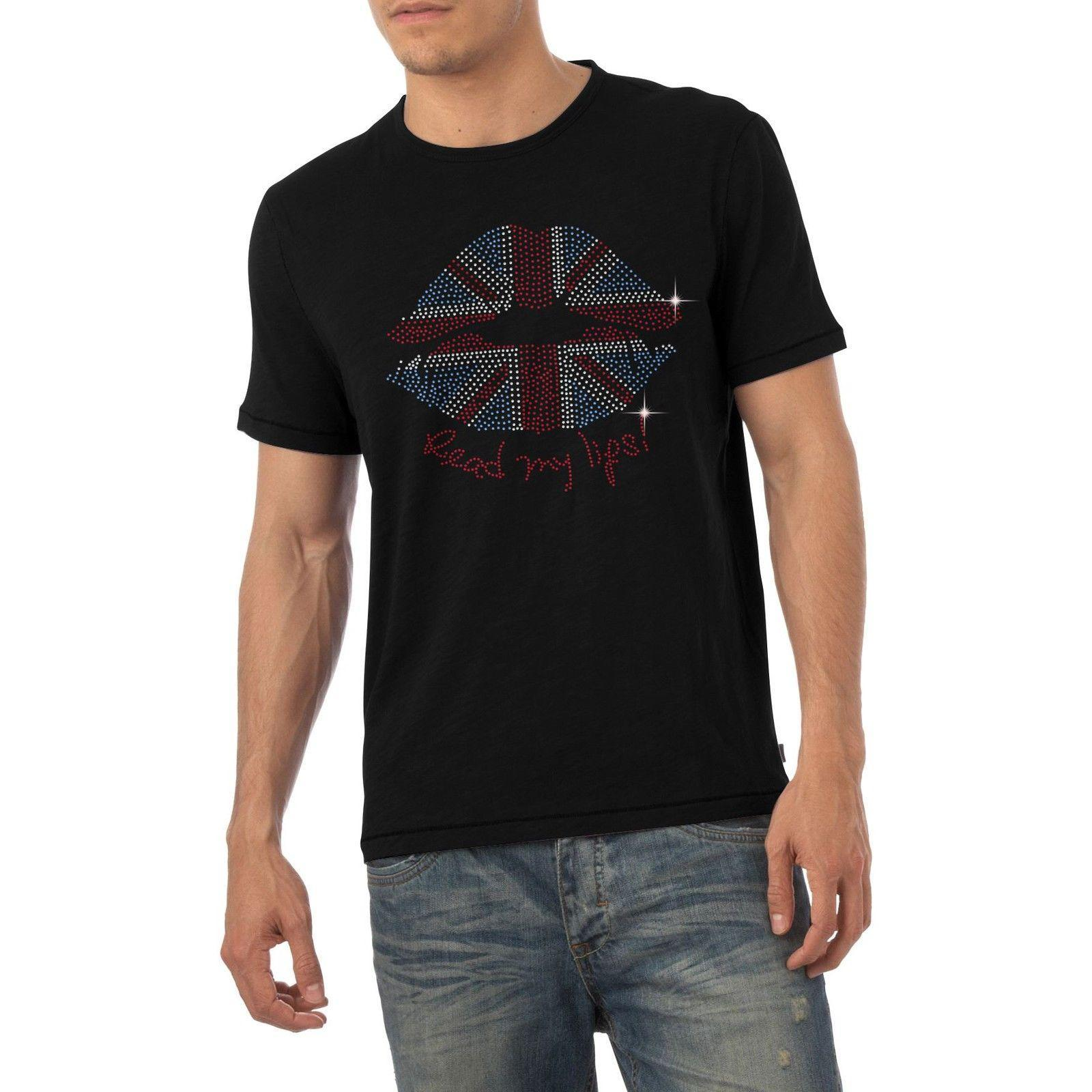 dos homens de Union Jack Lips Read My Lips T-shirt Diamante Rhinestone