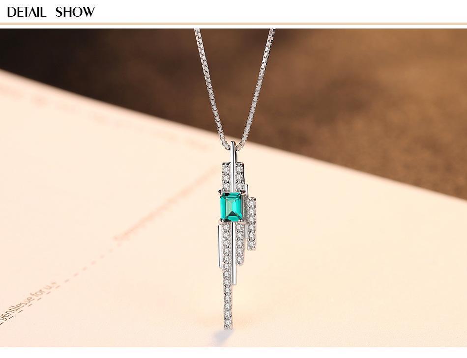 046941ec9543 Compre Lujo Esmeralda Joyas Esmeralda Plata De Ley 925 Colgante Collar  Damas GB14 A  111.31 Del Shuidianba
