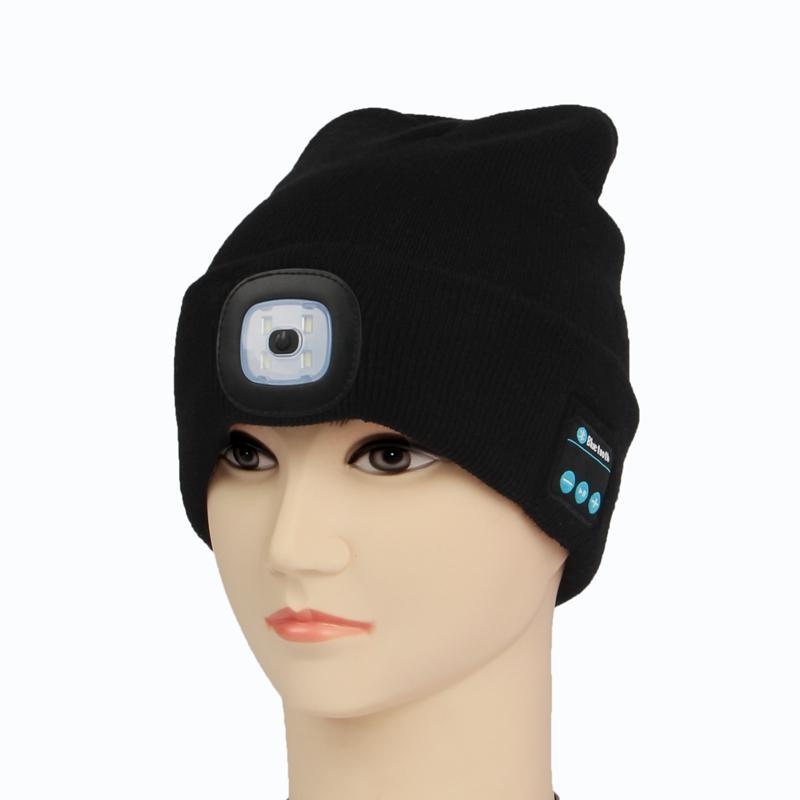90efde52897 2019 2019 Warm Beanie Bluetooth LED Hat Wireless Smart Cap Headset  Headphone Speaker Skullies Beanies From Litchiguo