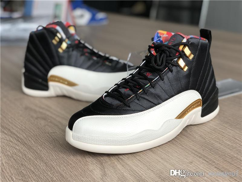 08a99270059 2019 2019 Authentic Air High 12 Chinese New Year CNY Basketball Shoes Men  Sneakers Black Sail Metallic Gold True Red CI2977 006 With Box 5 11 From  Iwantyou1 ...