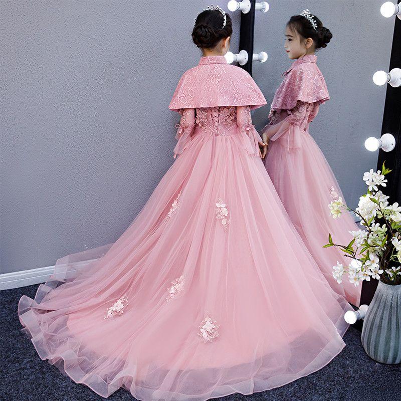 eb642fa164d Girl s wedding dress Pengpeng yarn drag-tail children s host evening dress  princess dress show model flower child costumes