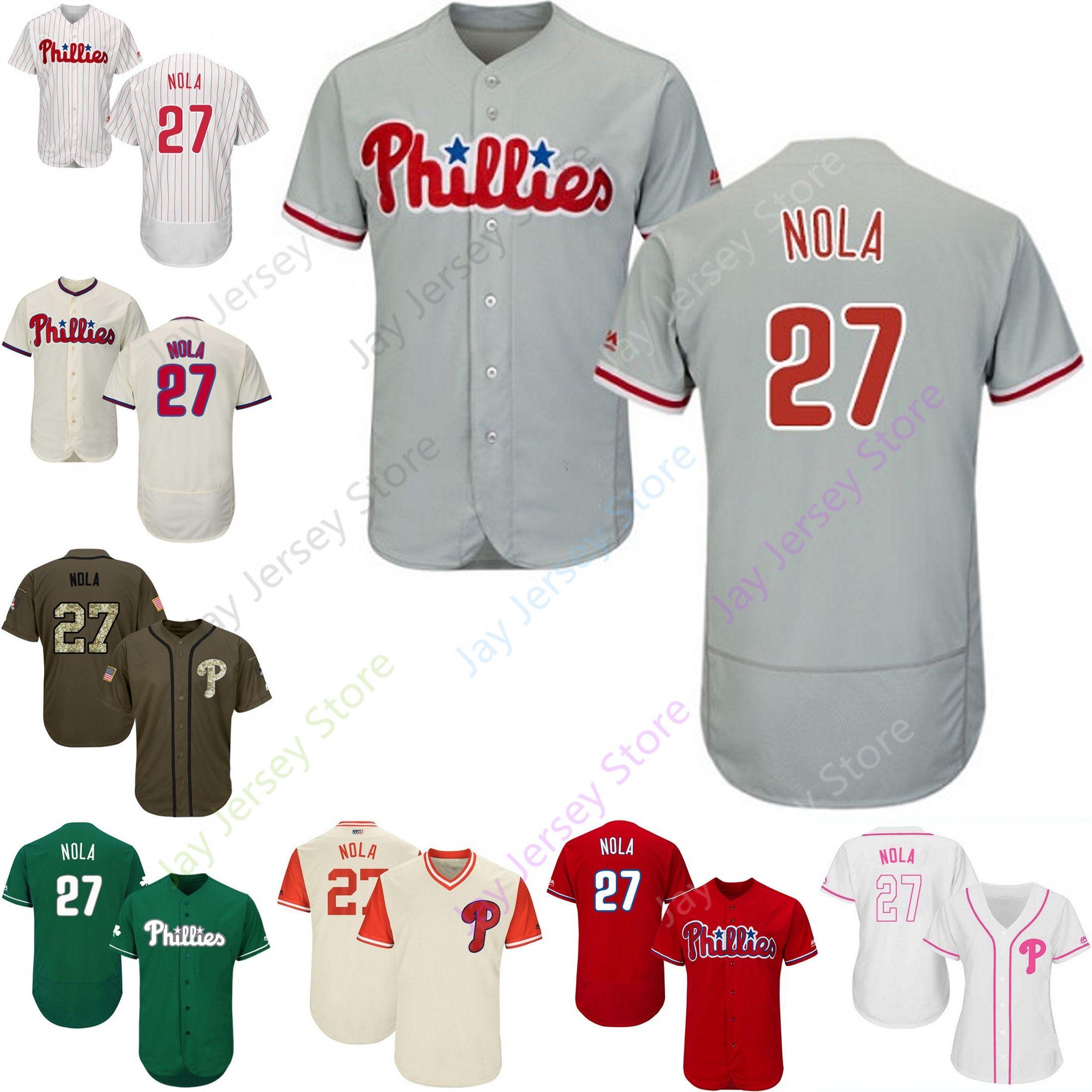check out 56a1a 3ed9e 2019 Philadelphia 27 Aaron Nola Jersey Phillies Jerseys Cool Base Flexbase  Home Away White Black Red Grey Pullover Button Men Women Youth
