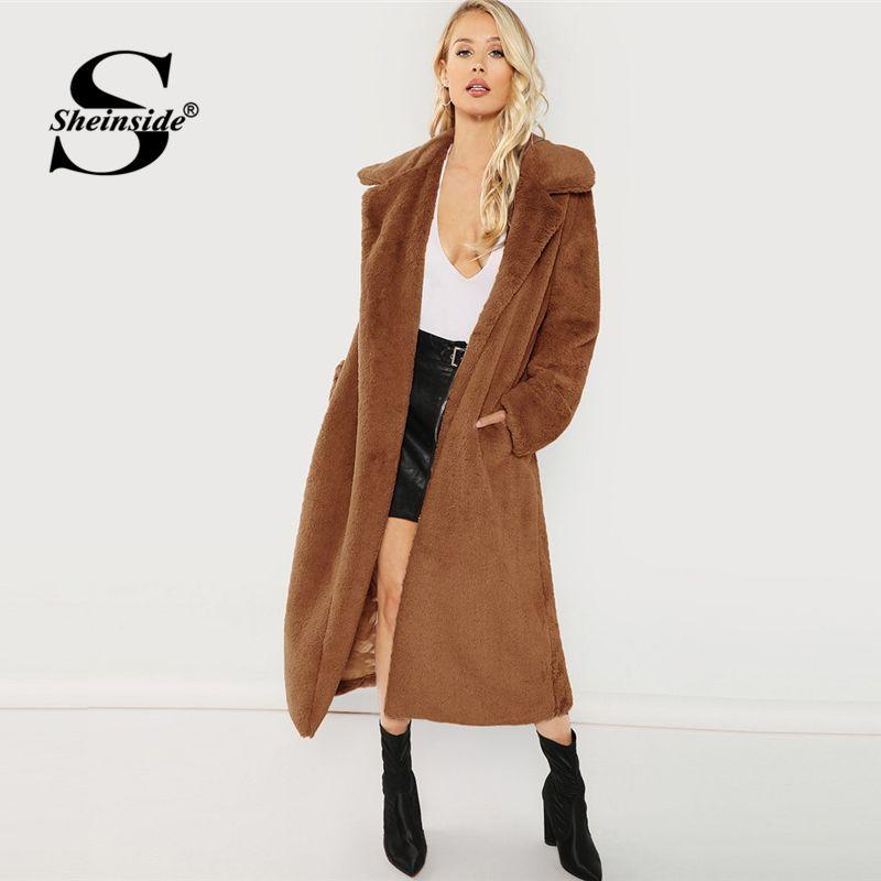 01c28f7ba8 2019 Sheinside Brown Winter Clothes Casual Long Coat Women Jacket 2018  Elegant Outerwear Womens Solid Longline Faux Fur Teddy Coats From Macloth,  ...