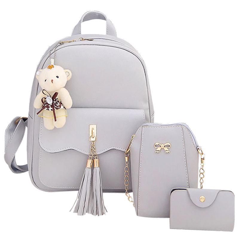7773e1b99339 3pcs A Set Korean Fashion Small Schoolbag School Bag Cute Backpack Casual  Travel Bags For Girls Kid Girl Children Pu Schoolbags