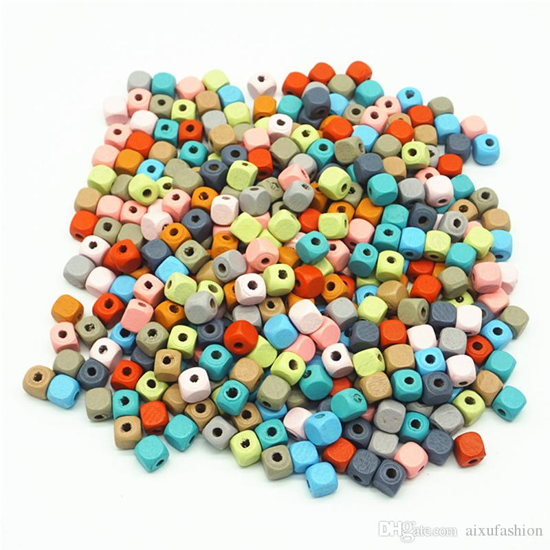 500pcs Makron Color 10mm Square Wooden Beads Water-borne Safety Painted Wood Beads Children's Diy Educational Toy Accessories