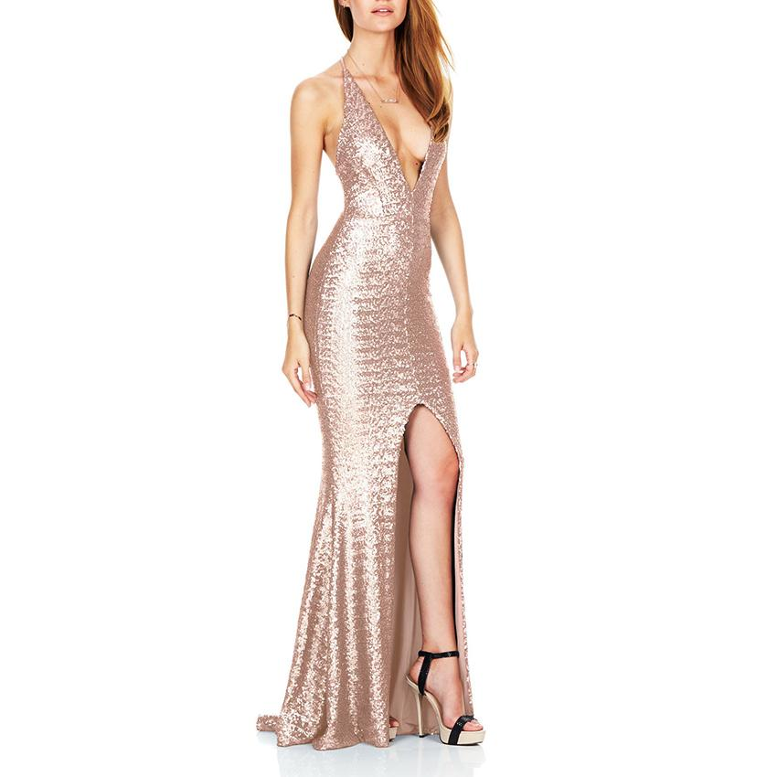 15c1af7953bc9 New Womens Spring Dresses Fashion Maxi Shiny Sequin Sexy Deep V Neck  Backless Long Dress Casual Party Elegant Dress Women Cloth