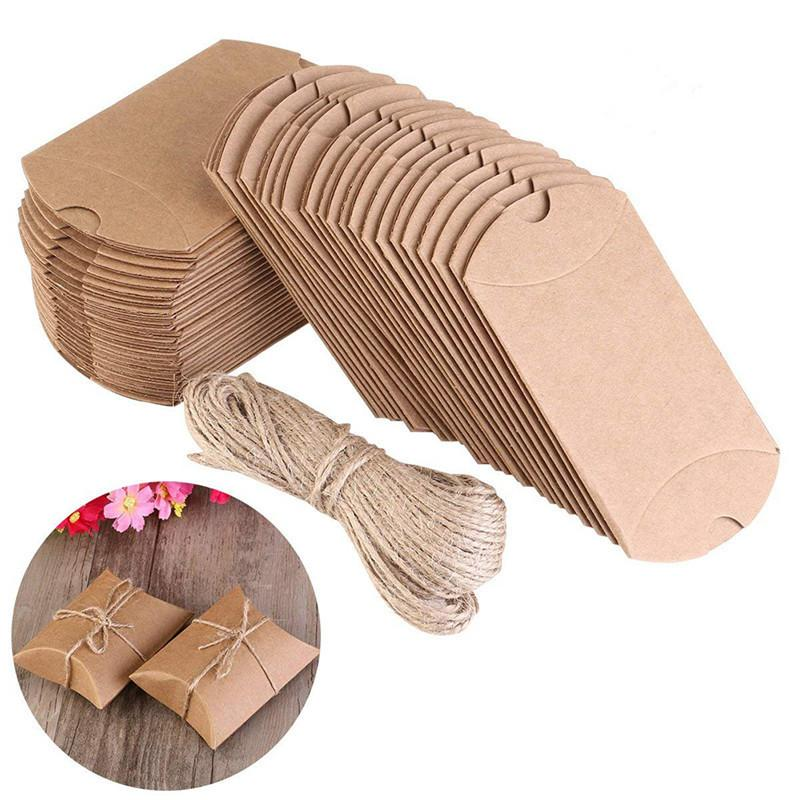 100pcs/Set Cute Kraft Paper Pillow Favor Box Wedding Party Favour Gift Candy Boxes Home Party Birthday Supplies High Quality
