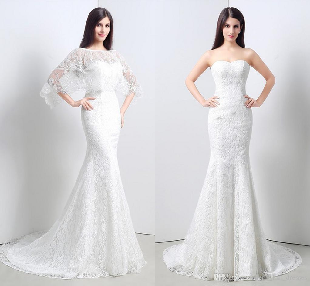 info for f94eb 10a76 Abiti da sposa bianchi eleganti Sweetheart con Wrap Mermaid in pizzo lungo  abiti da sposa partito sposa per le donne abiti da sposa DH4196