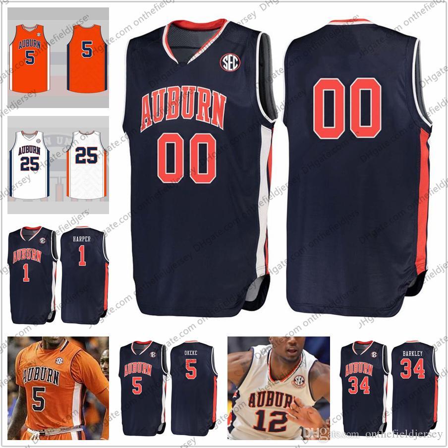 f6ae4b1ef2d Custom Auburn Tigers Stitched College Basketball Jersey Any Name Number 1  Jared Harper 2 Bryce Brown 5 Chuma Okeke 34 Charles Barkley S-4XL