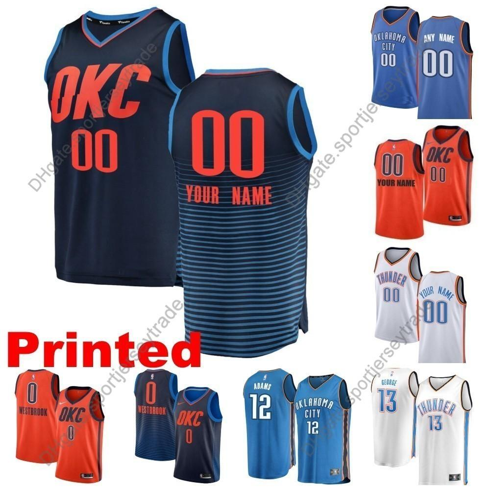 competitive price 9994a b3b34 Printed Mens Oklahoma Paul George Thunders 13 Nader Grant Russell Westbrook  Markieff Morris Steven Adams Schroder Edition Basketball Jersey