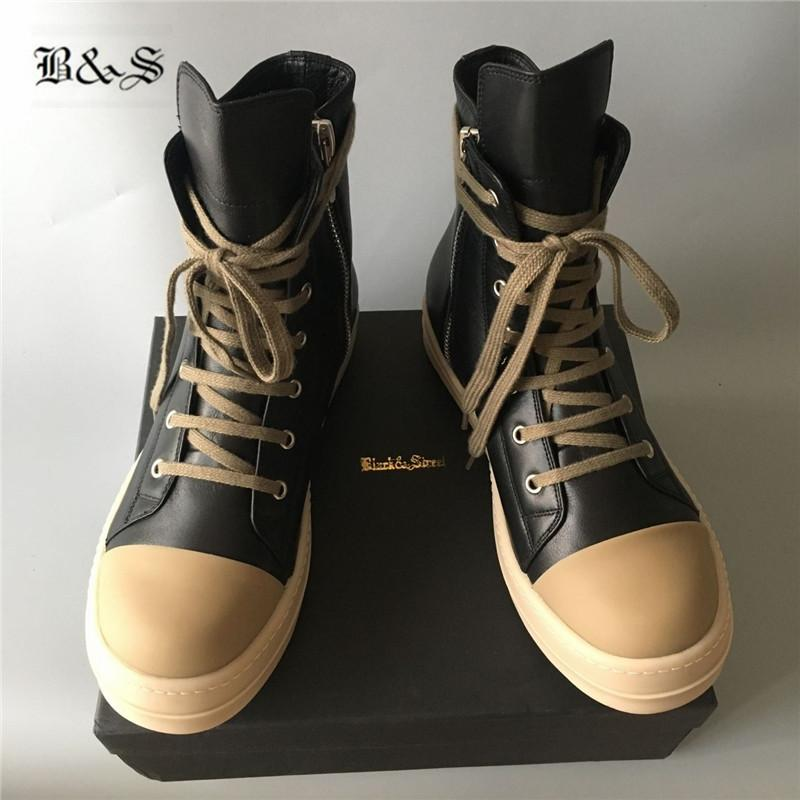 Cow Leather main sewing line High Top Quality Handmade cow muscle Boots Zipper 2019SS real picture trainer sneaker