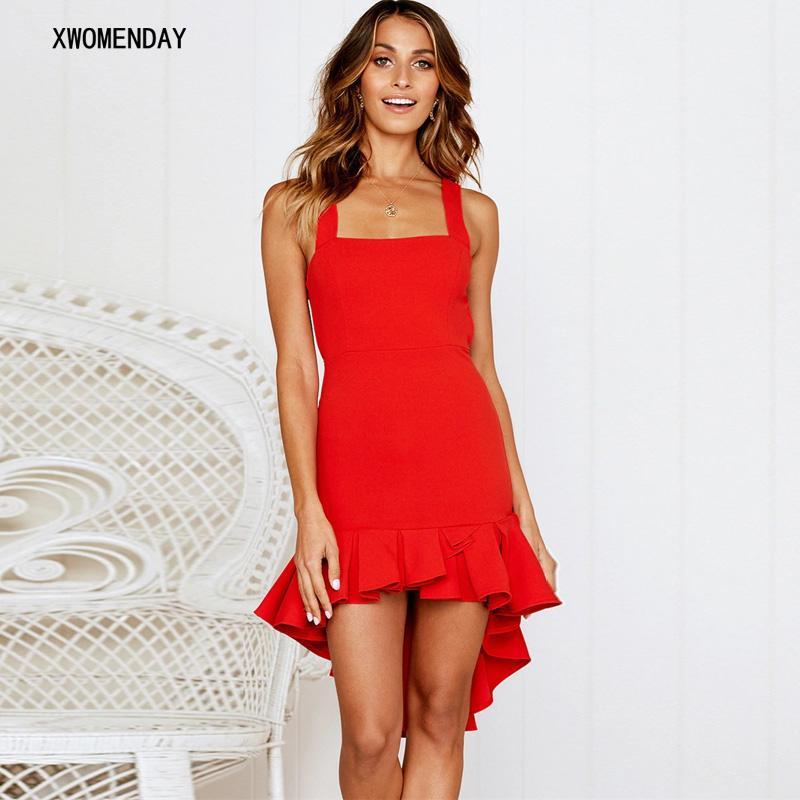 8c3fcd26df1de Women Summer Dress 2019 Spaghetti Strap Club Asymmetrical Dress Slash Neck  Sleeveless Backless Ruffles Elegant Sexy Party