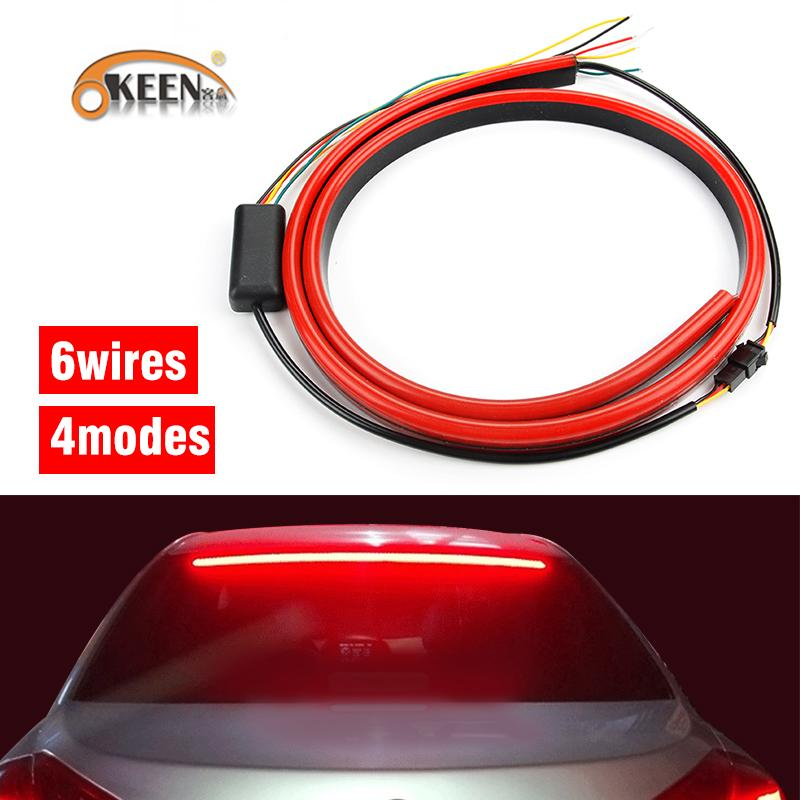 12V 100cm Red Unverisal Car Third Brake Light Flexible LED High Additional  Stop Light With Turn Signal Running Functions