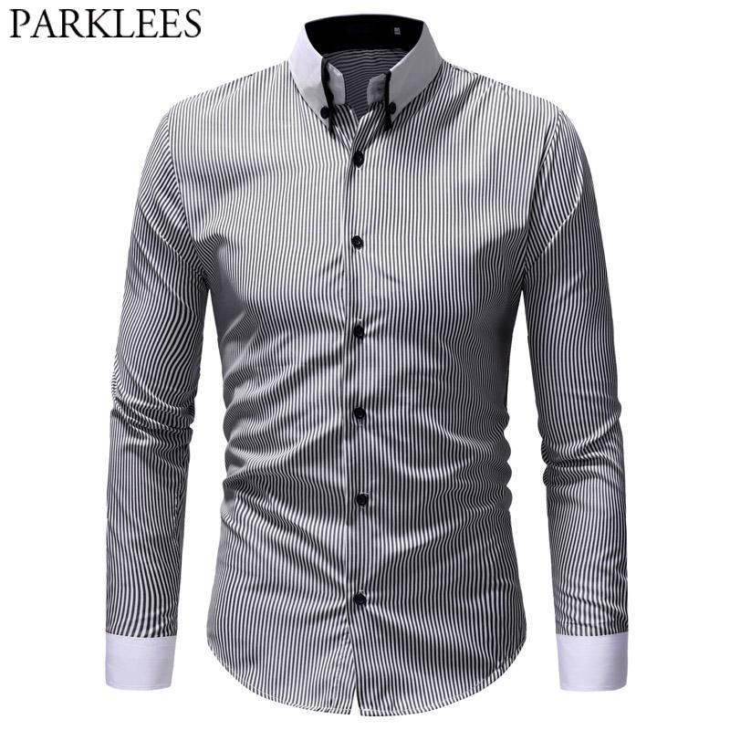 657b51fe48 Compre Camisas De Rayas De Negocios Formales Para Hombre 2019 Primavera  Negro Blanco Camisa De Vestir Con Botones Hombre Casual Slim Fit Moda  Streetwear ...