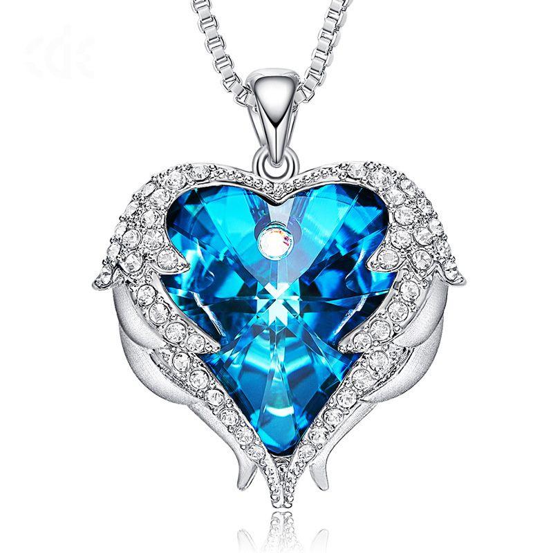 0fb97649a Wholesale Luxury Heart Swarovski Pendant Necklaces Crystal Pendant Blue Ocean  Heart Love Pendant Necklace For Women Girls Gifts Flower Pendant Necklace  ...