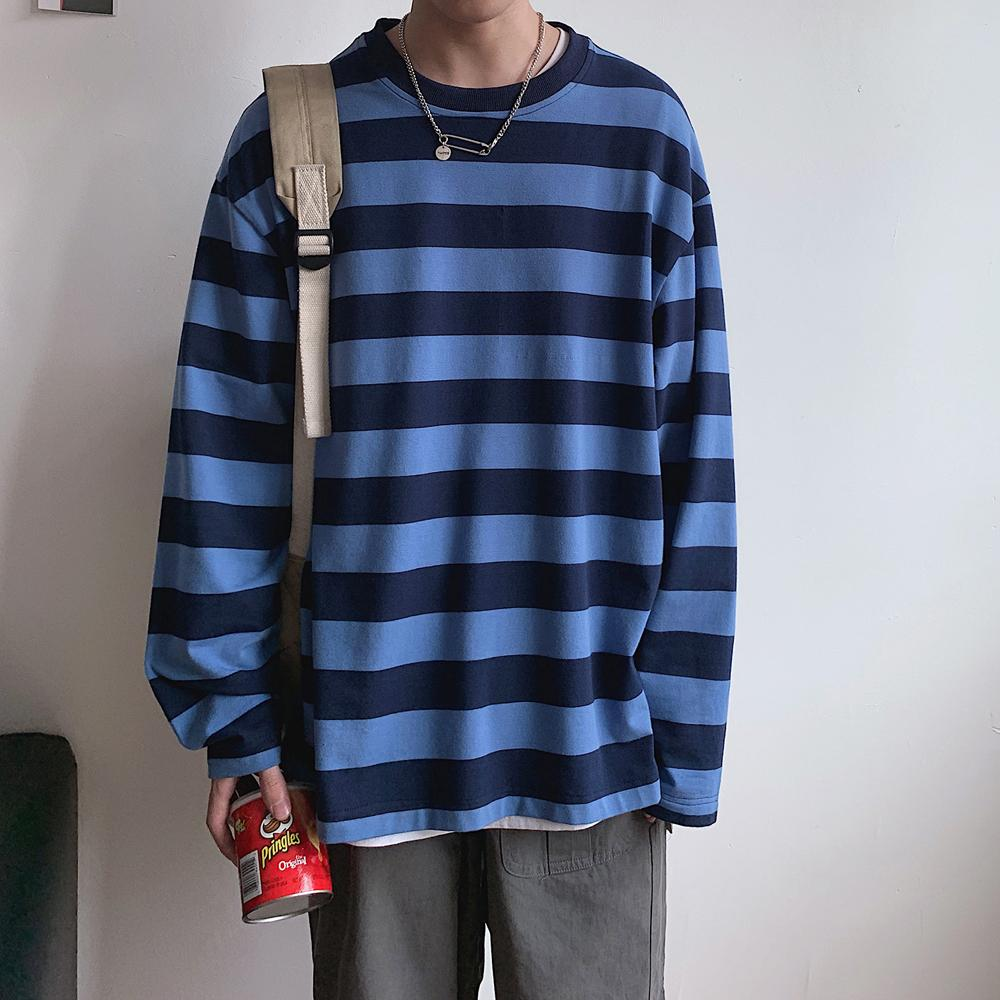 2019 Autumn Korean Style Fashion top Hip Hop Streetwear Harajuku Striped Tshirt Long Sleeve T Shirt Men