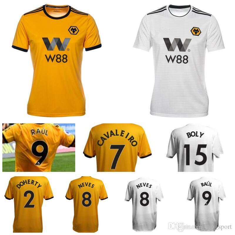 18824490154 2019 18 19 Wolverhampton Wanderers Soccer 9 Raul Jimenez Jersey 8 Ruben  Neves 7 Ivan Cavaleiro 2 Matt Doherty Rui Patricio Football Shirt Kits From  ...