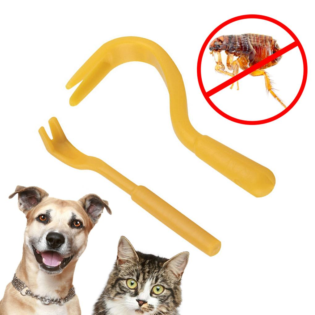 2Pcs Plastic Portable Louse Flea Scratching Remover Hook Tool For Animal Dog Pet Horse Cat Dog Grooming OOA5340 P