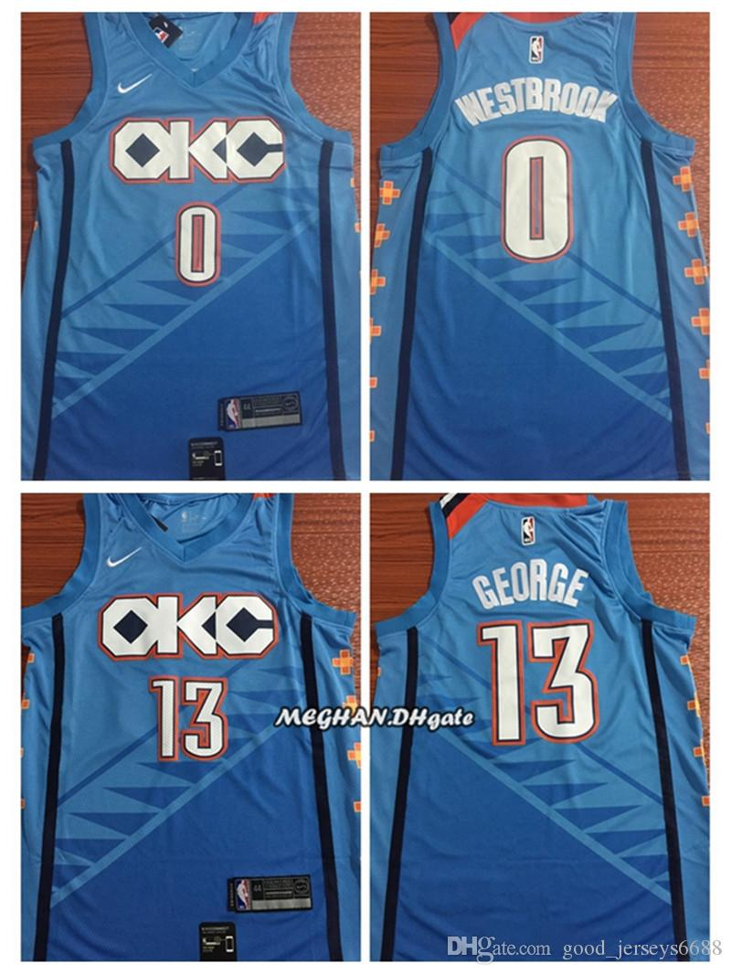 29eb4013b41 2018 Hot Sale 2019 Men Oklahoma City Basketball Thunder Jerseys 0 Russe  Westbrook 13 Paul George
