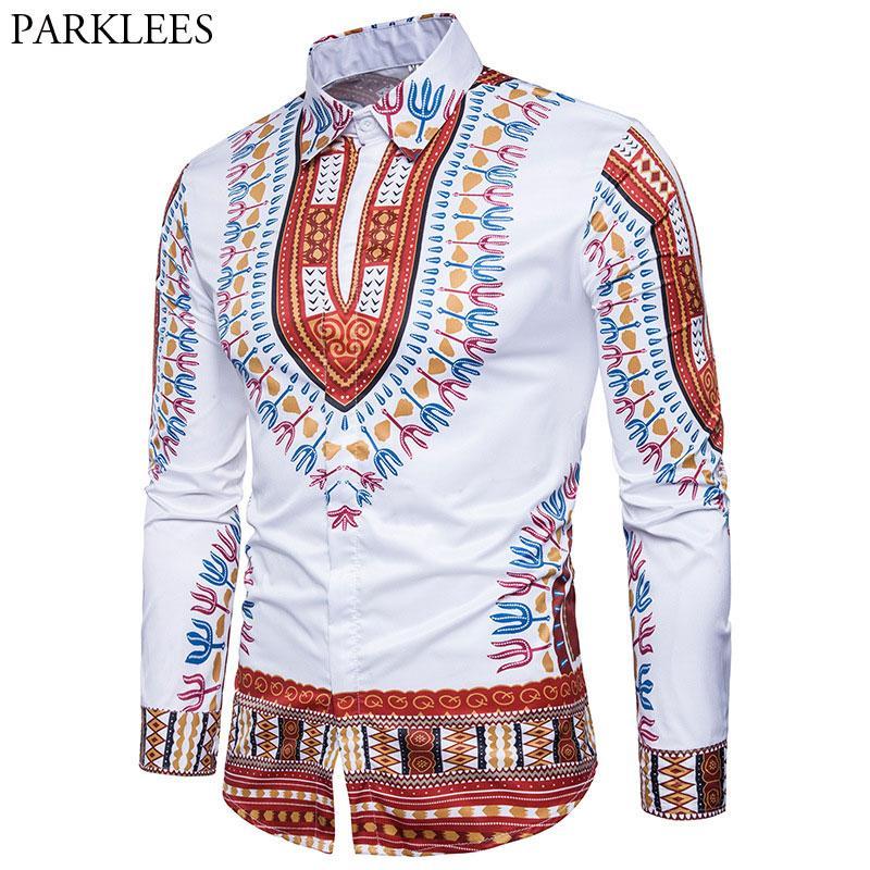 211731f5cc Compre Homens De Newset Africano Dashiki Camisas De Vestido De Manga Longa  2018 Casual Marca Slim Fit Botão Para Baixo Camisa Homens Hipster Camisa De  ...