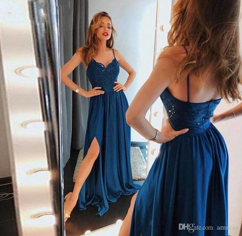 426034fbfb Sexy Spaghetti Straps A Line Prom Dresses 2019 Lace Appliuqes Sleeveless  Backless Side Slit Party Gowns Sweep Train Cheap Evening Wear Short Dresses  For ...