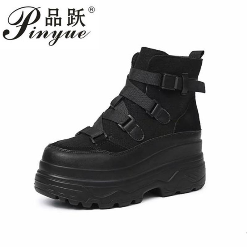 d1d7baa65 Compre 2019 Primavera Otoño Botines Mujer Plataforma Botas Suela De Goma  Hebilla De Cuero Negro PU Zapatos De Tacón Alto Mujer Cómodo A  58.18 Del  Shoe9 ...