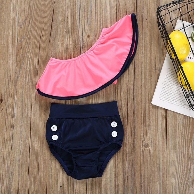 4f90a6dd853bc Großhandel Kinder Mädchen Bademode 2019 Sommer Zwei Stücke Badeanzüge Baby  Rüsche Schräge Schulter Badeanzug Kinder Bikinis B11 Von Fashion_house, ...