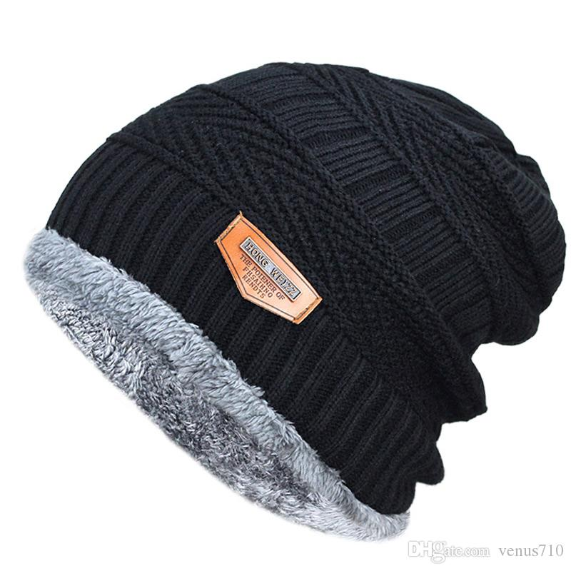e0dbbe8112c Men s Winter Hat 2019 Fashion Knitted Black Hats Fall Hat Thick And ...