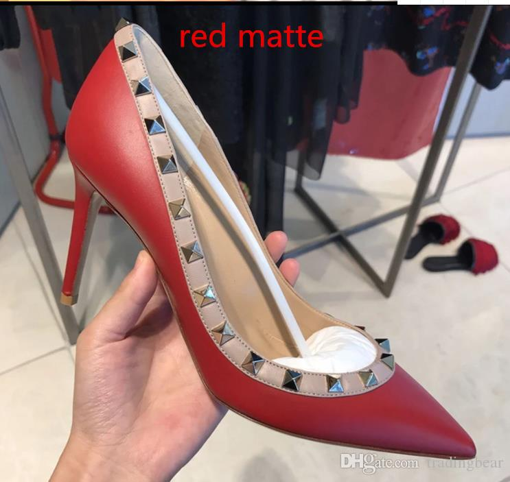 with box Genuine Leather Red Wedding Shoes For Bride Nude White Stiletto Heel Rivets Shoes Size 34 to 42 tradingbear